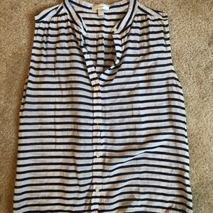 J Crew Striped Button Front Tank